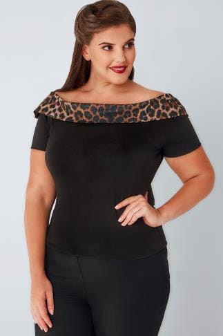 Bardot & Cold Shoulder Tops HELL BUNNY Black Bardot Top With Leopard Print Trim 138521
