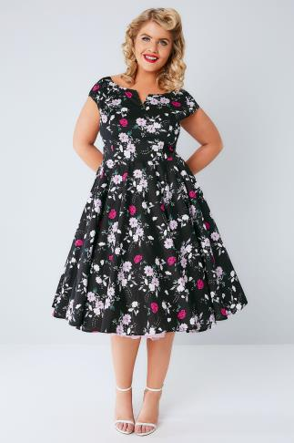 Midi Dresses HELL BUNNY Black & Multi Floral Print Belinda Dress 138147