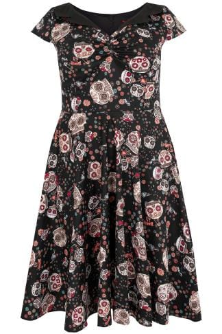 HELL BUNNY Black & Multi Skull Print 50s Style Midi Dress With Collar Detail