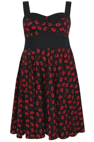 HELL BUNNY Black & Red Kiss Me Deadly Print Dress