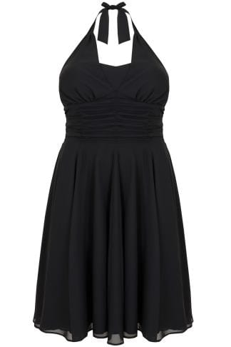 Black Dresses HELL BUNNY Black Ruched Chiffon 50s Style Monroe Halter Midi Dress 138524