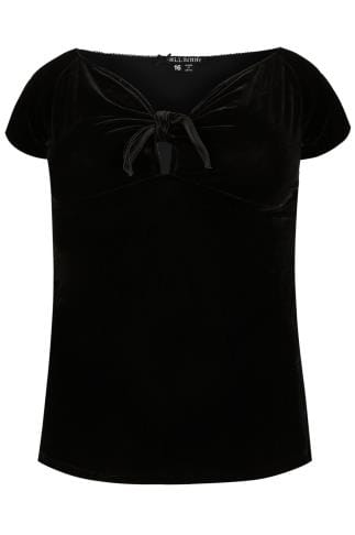 HELL BUNNY Black Velvet Sugar Top