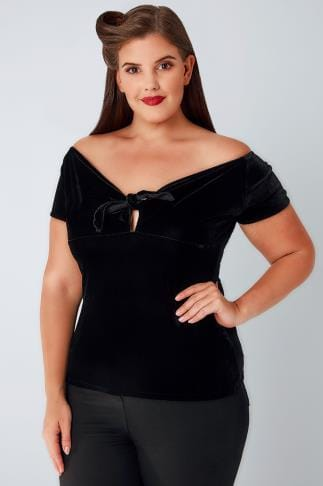 Party Tops HELL BUNNY Black Velvet Sugar Top 138523