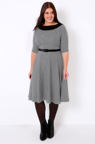 HELL BUNNY Black & White Mono Jackson Dress