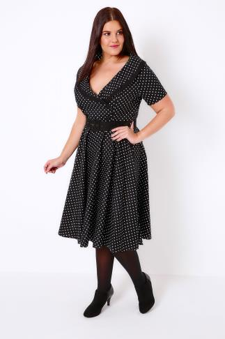 HELL BUNNY Black & White Mono Spotted Dress 102034