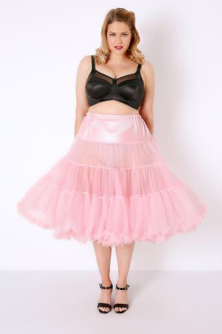 HELL BUNNY Dolly Pink Petticoat Flare Skirt 138194