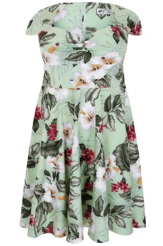 HELL BUNNY Green Tropical Print 50's Fit & Flare Midi Dress