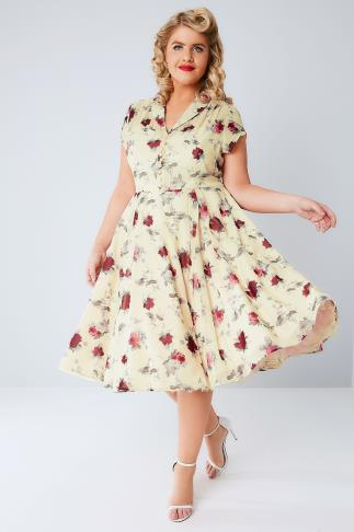 Midi Dresses HELL BUNNY Magnolia & Red Rose Double Layered Leah Tea Dress 138150