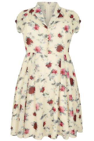 HELL BUNNY Magnolia & Red Rose Double Layered Leah Tea Dress