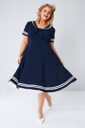 HELL BUNNY Navy Fit & Flare Ambeleside Dress 138146