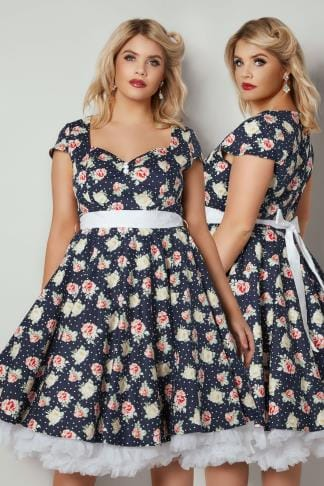 Midi Dresses HELL BUNNY Navy Floral Print Cassie Dress With Self Tie Waist 138791