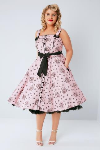 "Skater Dresses HELL BUNNY Pink & Black ""Keepsake"" Printed Dress 138149"