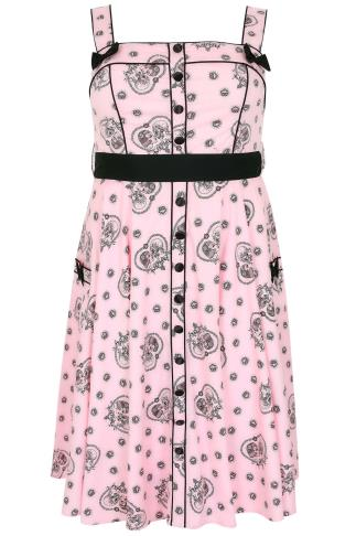 "HELL BUNNY Pink & Black ""Keepsake"" Printed Dress"