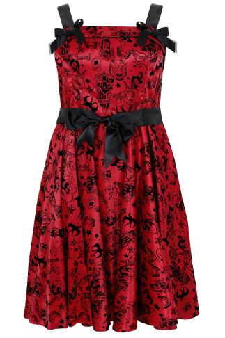 HELL BUNNY Red & Black Tattoo Flocked Print 50's Style Dress