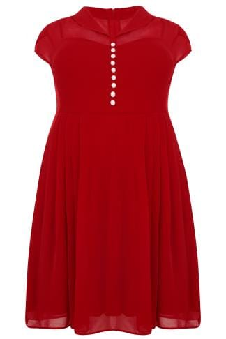 Sleeved Dresses HELL BUNNY Red Chiffon Paige Dress With Pleated Skirt 138788