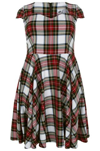 HELL BUNNY Red & Green Tartan Check 50s Midi Dress
