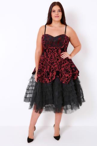 HELL BUNNY Red Jacquard Print Layered Net Dress