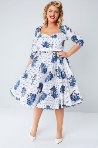 Midi Dresses HELL BUNNY White & Blue Dotty Rose Dress With Waist Belt 138154