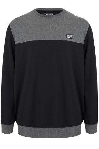 HENLEYS Black & Grey Crew Sweatshirt