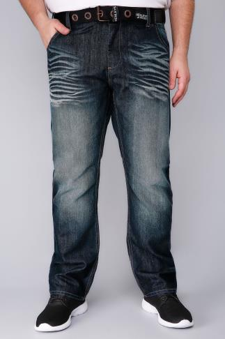 Straight HENLEYS Dark Blue Wash Denim Jeans With Belt 101820