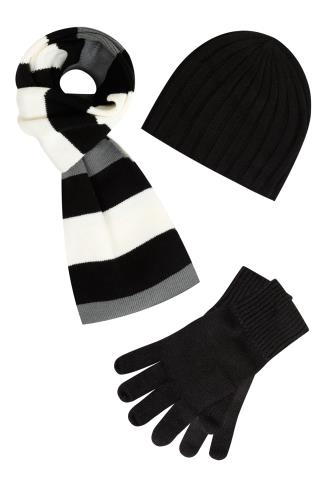 BadRhino Black & Multi 3 Piece Knitted Hat Scarf & Gloves Set