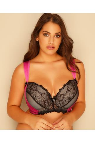 Hot Pink & Black Floral Fishnet Lace Sling Bra