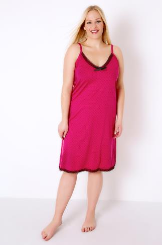 Hot Pink & Black Spotted Chemise With Lace Trim