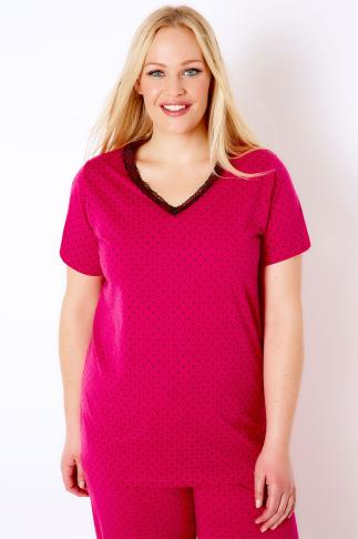 Hot Pink & Black Spotted Pyjama Top With Lace V-Neck