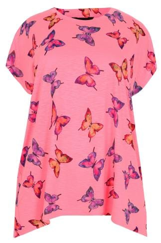 Neon Pink Butterfly Print Top With Diamante Stud Detail