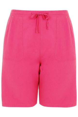 Hot Pink Cool Cotton Pull On Shorts With Pockets