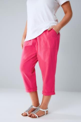 Cool Cotton Crops Hot Pink Cool Cotton Pull On Tapered Cropped Trousers 144053