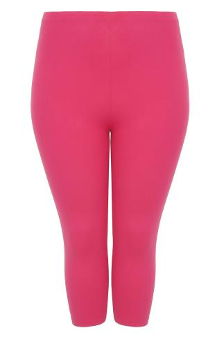 Hot Pink Cotton Elastane Cropped Leggings