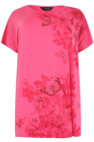 Hot Pink Floral Print T-Shirt With Stud Detail