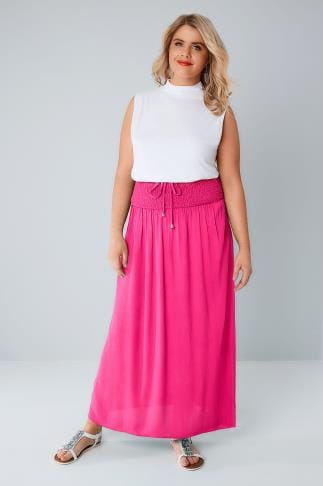 Hot Pink Maxi Skirt With Ruched Waistline 160031