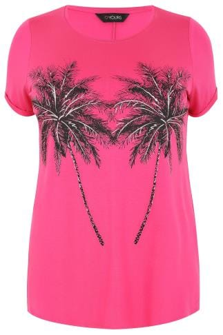 Hot Pink Palm Print T-Shirt With Silver Glitter Detail