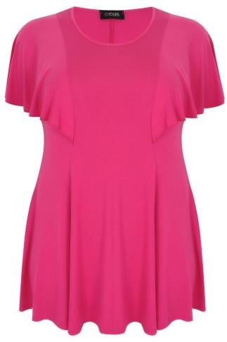 Hot Pink Peplum Top With Frill Angel Sleeves