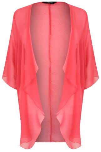 Hot Pink Textured Chiffon Kimono With Waterfall Front