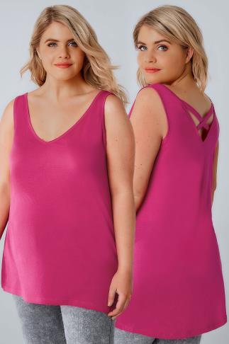 Basic T-Shirts & Vests Hot Pink V-Neck Vest Top With Cross Back Detail 132106