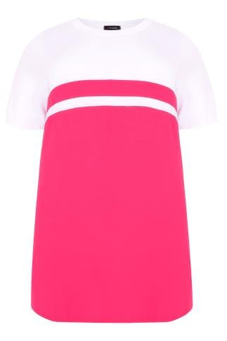 Jersey Tops Hot Pink & White Colour Block Short Sleeve T-Shirt 132364
