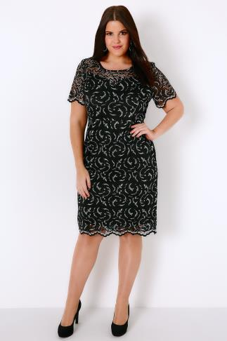 Black & Silver Lace Midi Dress With Sweetheart Style Neckline