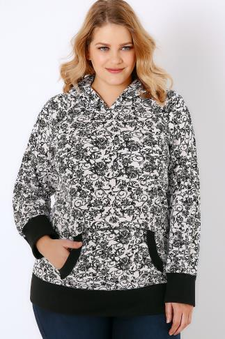 Black & White Floral Print Hooded Sweat Top