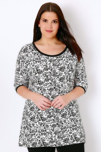 IVANS Black & White Floral Print Jersey Top