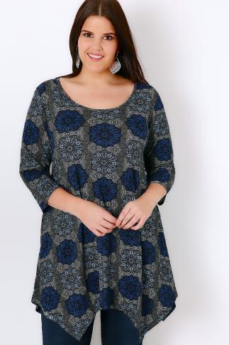 IVANS Blue Tile Print Jersey Top