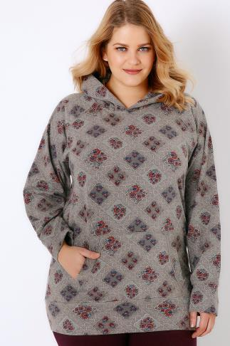 Grey & Pink Floral Lace Print Hooded Sweat Top