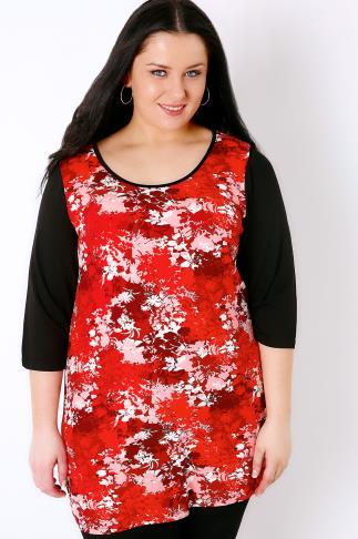 IVANS Red & Black Floral Print Colour Block Top