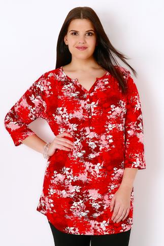 IVANS Red & White Floral Print Jersey Top