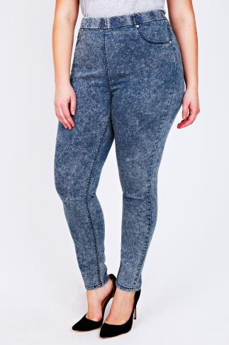 Indigo Blue Acid Wash Denim Jeggings