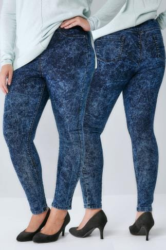 Jeggins Indigoblaue Stretch-Leggings mit Acid-Waschung Effekt 142010