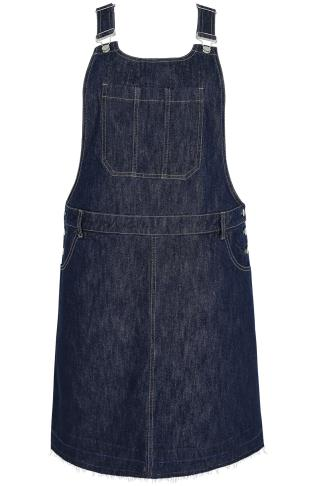 Indigo Blue Denim Dungaree Pinafore Dress With Raw Edge Hem