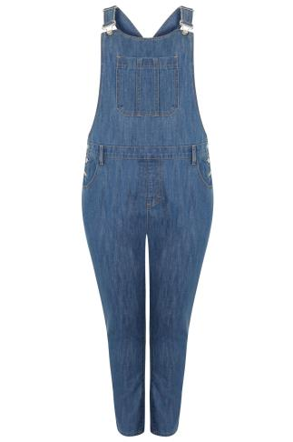 Mid Blue Denim Dungarees With Front Pocket